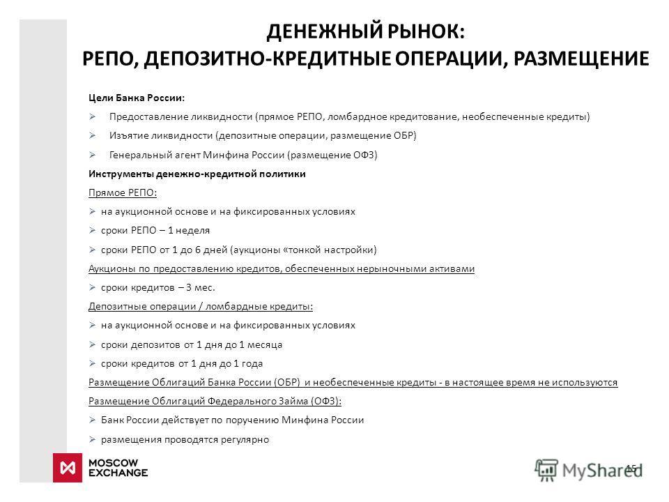 ДЕНЕЖНЫЙ РЫНОК: РЕПО, ДЕПОЗИТНО-КРЕДИТНЫЕ ОПЕРАЦИИ, РАЗМЕЩЕНИЕ Цели Банка России: Предоставление ликвидности (прямое РЕПО, ломбардное кредитование, необеспеченные кредиты) Изъятие ликвидности (депозитные операции, размещение ОБР) Генеральный агент Ми