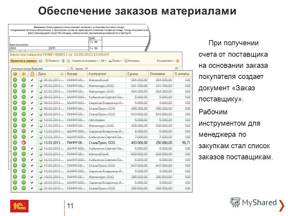 11 Обеспечение заказов материалами При получении счета от поставщика на основании заказа покупателя создает документ «Заказ поставщику». Рабочим инструментом для менеджера по закупкам стал список заказов поставщикам.