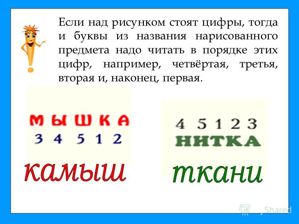 Если над рисунком стоят цифры, тогда и буквы из названия нарисованного предмета надо читать в порядке этих цифр, например, четвёртая, третья, вторая и, наконец, первая.