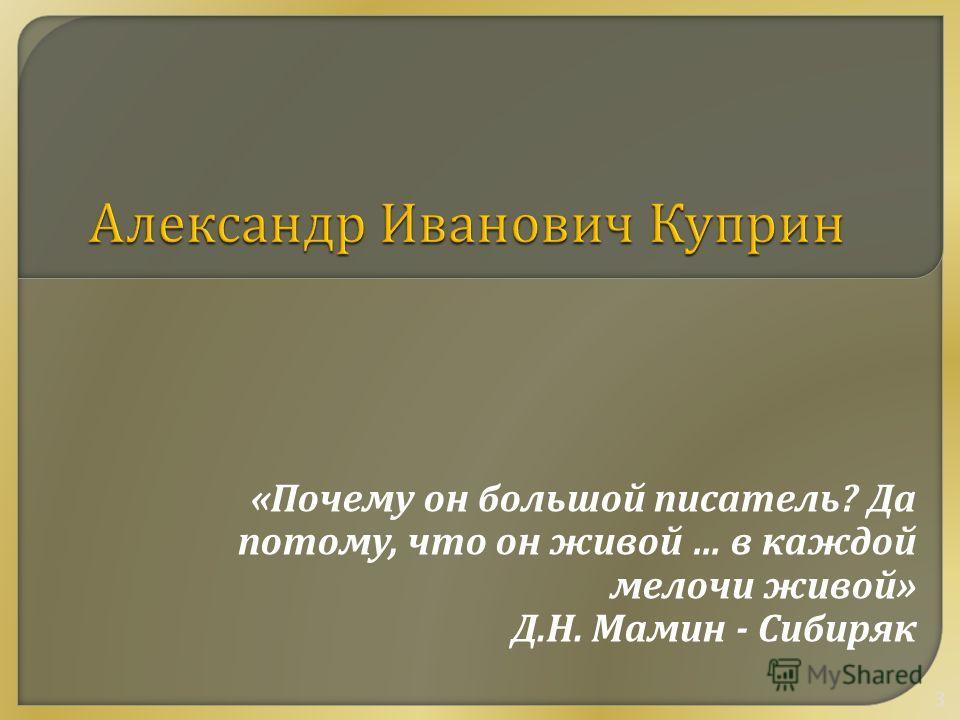 « Почему он большой писатель ? Да потому, что он живой … в каждой мелочи живой » Д. Н. Мамин - Сибиряк 3