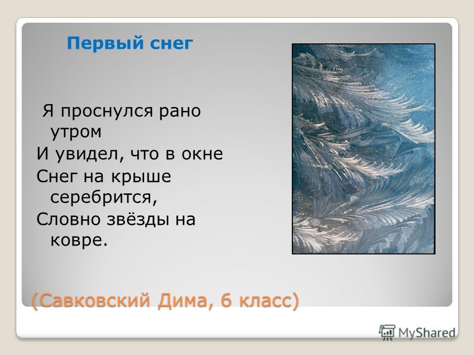 (Савковский Дима, 6 класс) Первый снег Я проснулся рано утром И увидел, что в окне Снег на крыше серебрится, Словно звёзды на ковре.