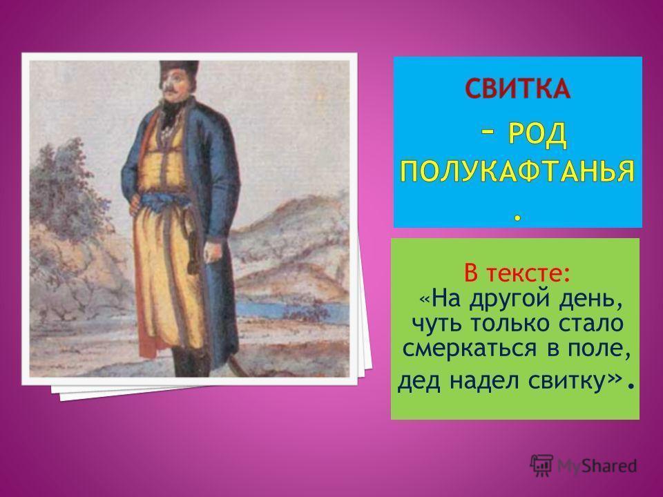 В тексте: «На другой день, чуть только стало смеркаться в поле, дед надел свитку ».