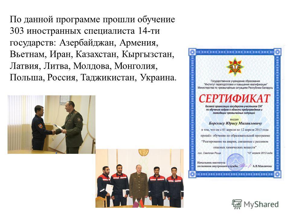 По данной программе прошли обучение 303 иностранных специалиста 14-ти государств: Азербайджан, Армения, Вьетнам, Иран, Казахстан, Кыргызстан, Латвия, Литва, Молдова, Монголия, Польша, Россия, Таджикистан, Украина.