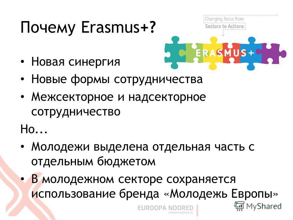 Почему Erasmus+? Новая синергия Новые формы сотрудничества Межсекторное и надсекторное сотрудничество Но... Молодежи выделена отдельная часть с отдельным бюджетом В молодежном секторе сохраняется использование бренда «Молодежь Европы»