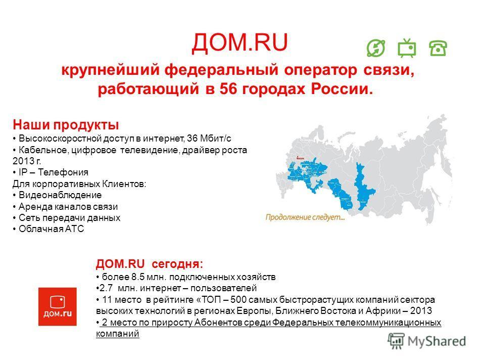 ДОМ.RU крупнейший федеральный оператор связи, работающий в 56 городах России. Наши продукты Высокоскоростной доступ в интернет, 36 Мбит/с Кабельное, цифровое телевидение, драйвер роста 2013 г. IP – Телефония Для корпоративных Клиентов: Видеонаблюдени