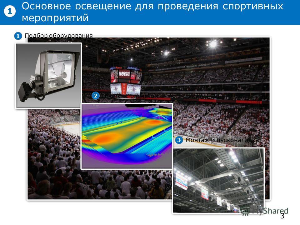 Основное освещение для проведения спортивных мероприятий 3 1 Подбор оборудования 1 Проект с расчетом 2 Монтаж и пусконаладка 3