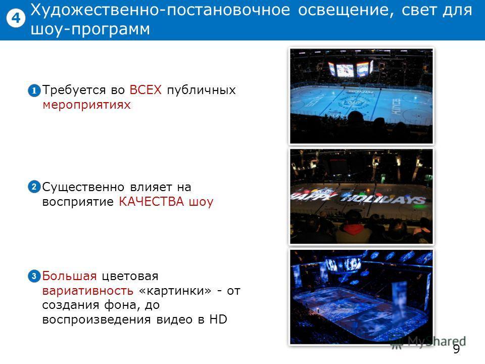 Художественно-постановочное освещение, свет для шоу-программ 9 4 Существенно влияет на восприятие КАЧЕСТВА шоу 2 Большая цветовая вариативность «картинки» - от создания фона, до воспроизведения видео в HD 3 Требуется во ВСЕХ публичных мероприятиях 1