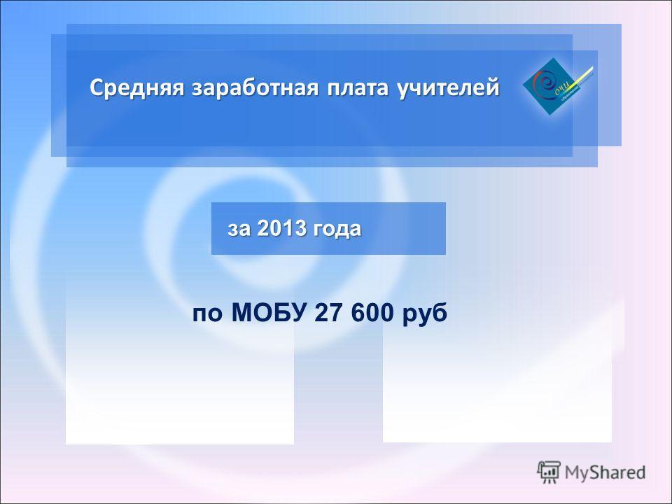 Средняя заработная плата учителей за 2013 года по МОБУ 27 600 руб