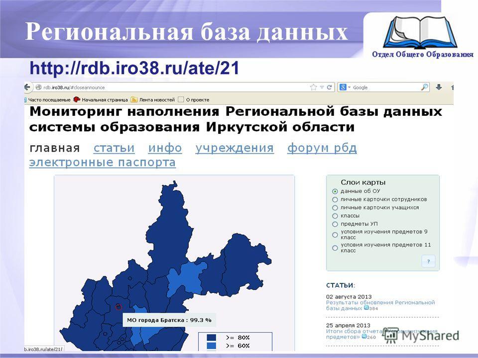 Региональная база данных http://rdb.iro38.ru/ate/21