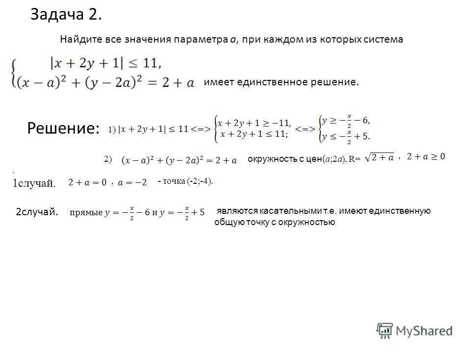 Найдите все значения параметра а, при каждом из которых система имеет единственное решение. Задача 2. Решение: 1) 2) окружность с цен( a;2a), R=,. 1случай., - точка (-2;-4). являются касательными т.е. имеют единственную общую точку с окружностью 2слу