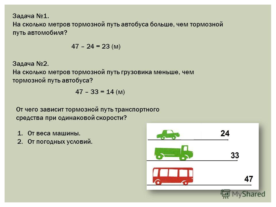 Задача 1. На сколько метров тормозной путь автобуса больше, чем тормозной путь автомобиля? 47 – 24 = 23 (м) Задача 2. На сколько метров тормозной путь грузовика меньше, чем тормозной путь автобуса? 47 – 33 = 14 (м) От чего зависит тормозной путь тран