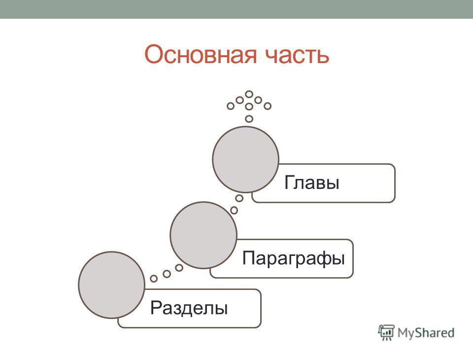 Основная часть РазделыПараграфыГлавы