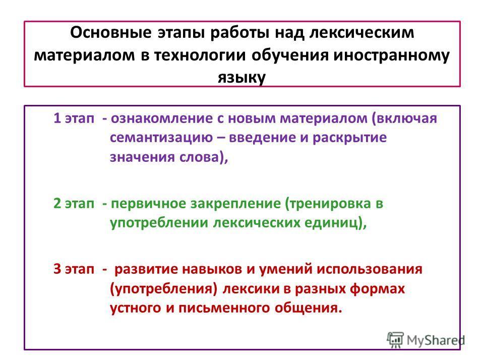 Основные этапы работы над лексическим материалом в технологии обучения иностранному языку 1 этап - ознакомление с новым материалом (включая семантизацию – введение и раскрытие значения слова), 2 этап - первичное закрепление (тренировка в употреблении