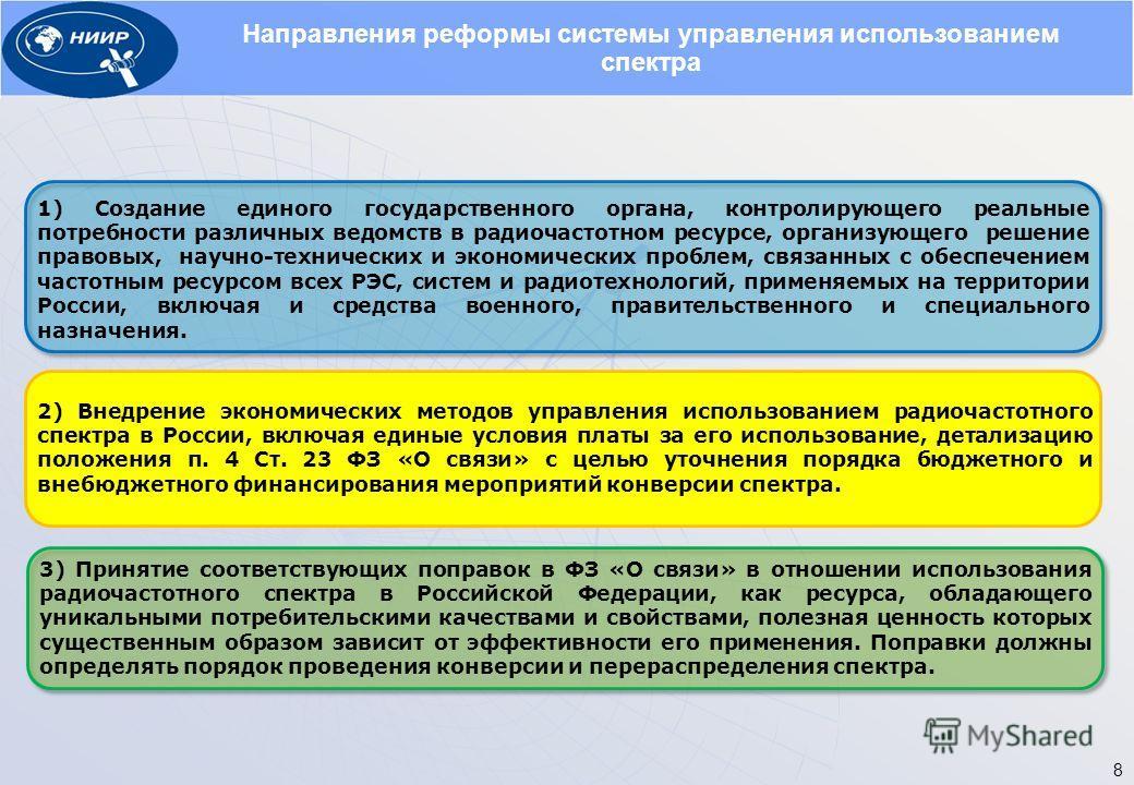 Направления реформы системы управления использованием спектра 3) Принятие соответствующих поправок в ФЗ «О связи» в отношении использования радиочастотного спектра в Российской Федерации, как ресурса, обладающего уникальными потребительскими качества