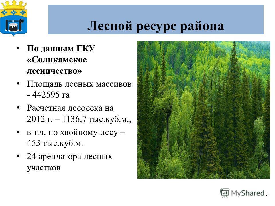 Лесной ресурс района 3 По данным ГКУ «Соликамское лесничество» Площадь лесных массивов - 442595 га Расчетная лесосека на 2012 г. – 1136,7 тыс.куб.м., в т.ч. по хвойному лесу – 453 тыс.куб.м. 24 арендатора лесных участков