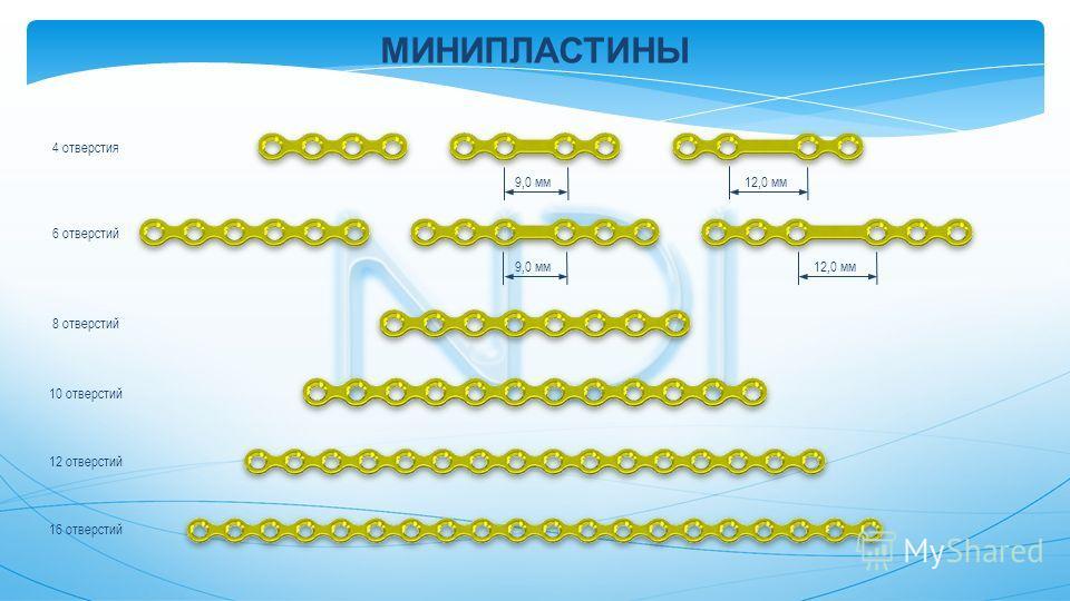 МИНИПЛАСТИНЫ 9,0 мм 12,0 мм 9,0 мм 12,0 мм 4 отверстия 6 отверстий 8 отверстий 10 отверстий 12 отверстий 16 отверстий