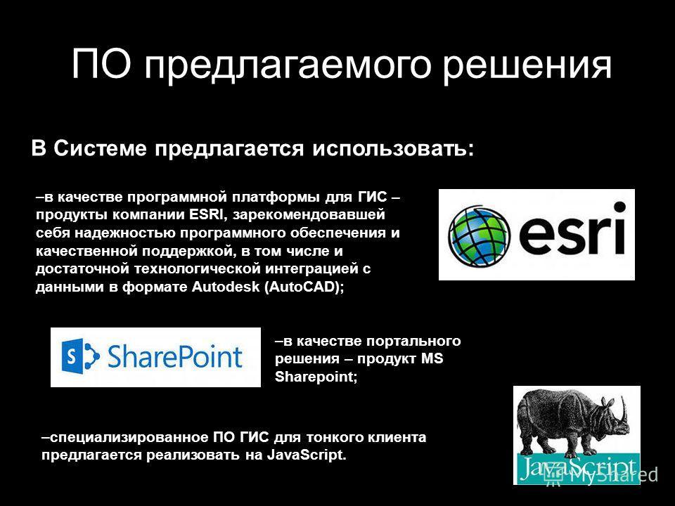 ПО предлагаемого решения –в качестве программной платформы для ГИС – продукты компании ESRI, зарекомендовавшей себя надежностью программного обеспечения и качественной поддержкой, в том числе и достаточной технологической интеграцией с данными в форм