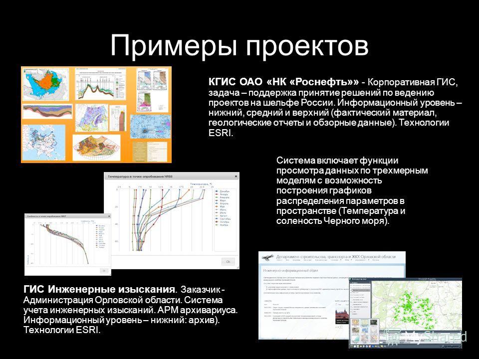 Примеры проектов КГИС ОАО «НК «Роснефть»» - Корпоративная ГИС, задача – поддержка принятие решений по ведению проектов на шельфе России. Информационный уровень – нижний, средний и верхний (фактический материал, геологические отчеты и обзорные данные)