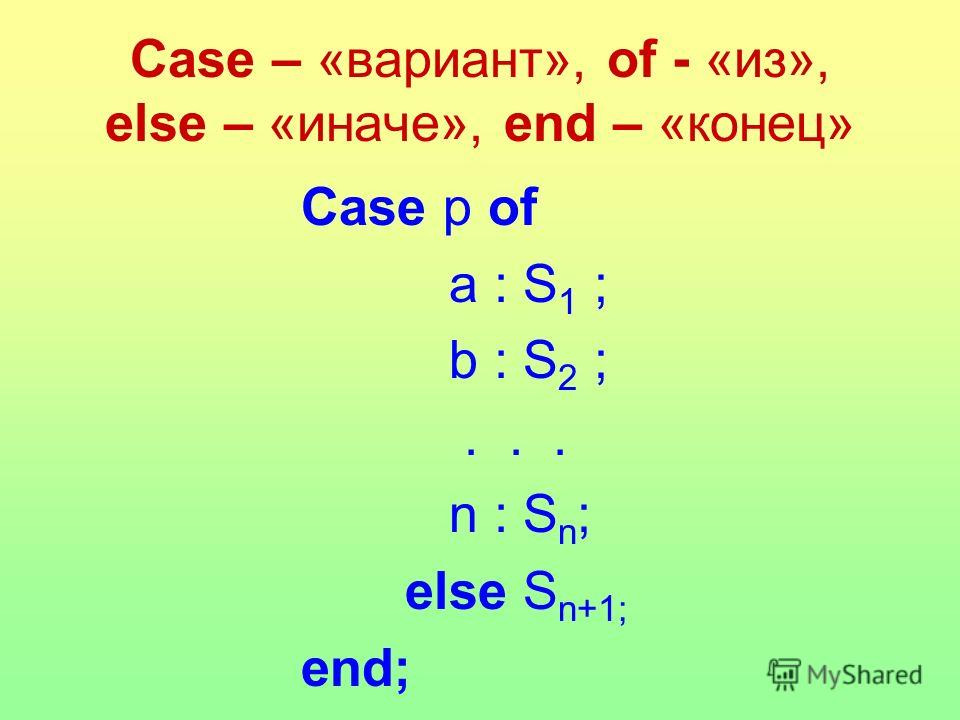 Case – «вариант», of - «из», else – «иначе», end – «конец» Case p of a : S 1 ; b : S 2 ;... n : S n ; else S n+1; end;