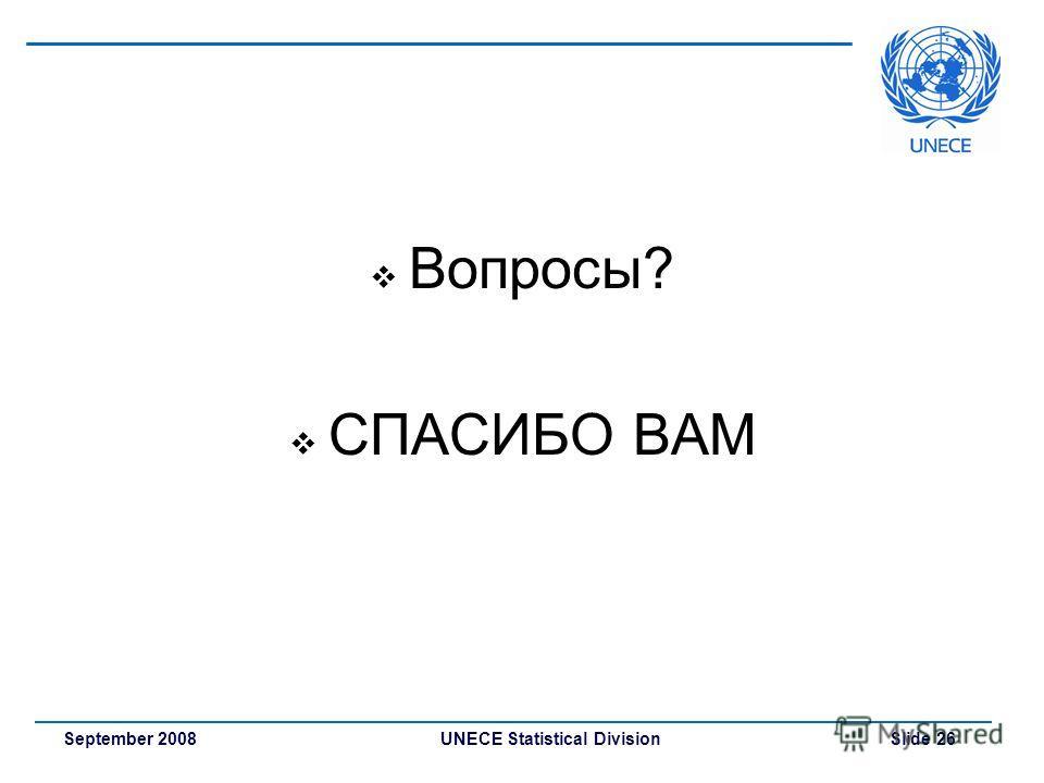 UNECE Statistical Division Slide 26September 2008 Вопросы? СПАСИБО ВАМ