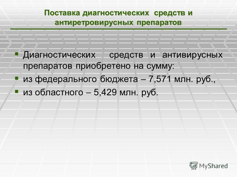 Поставка диагностических средств и антиретровирусных препаратов Диагностических средств и антивирусных препаратов приобретено на сумму: из федерального бюджета – 7,571 млн. руб., из областного – 5,429 млн. руб.