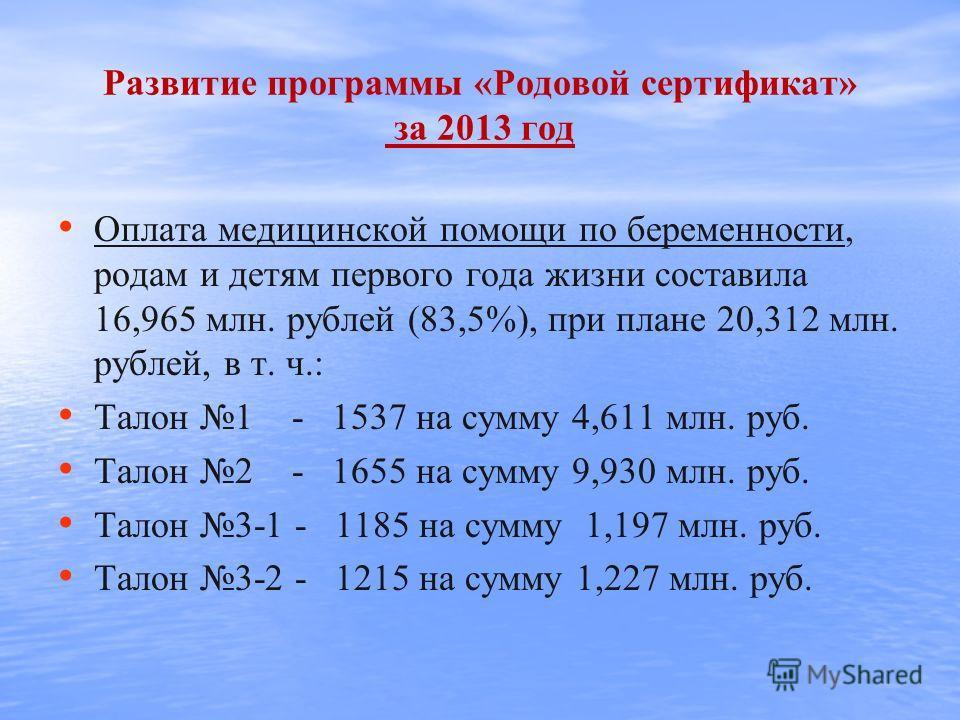 Развитие программы «Родовой сертификат» за 2013 год Оплата медицинской помощи по беременности, родам и детям первого года жизни составила 16,965 млн. рублей (83,5%), при плане 20,312 млн. рублей, в т. ч.: Талон 1 - 1537 на сумму 4,611 млн. руб. Талон