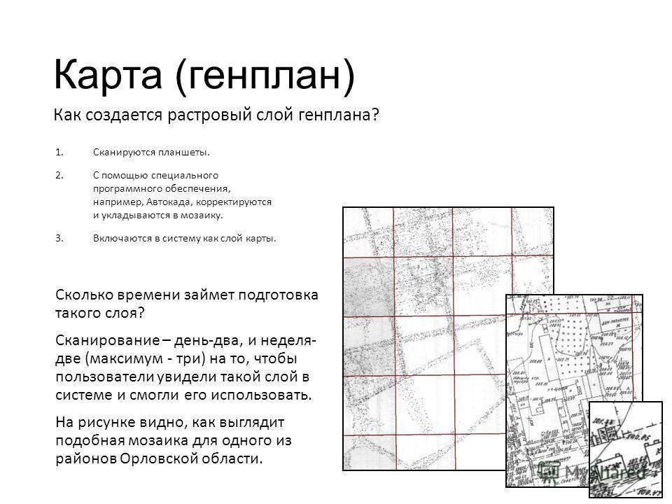 Карта (генплан) 1.Сканируются планшеты. 2.С помощью специального программного обеспечения, например, Автокада, корректируются и укладываются в мозаику. 3.Включаются в систему как слой карты. Сколько времени займет подготовка такого слоя? Сканирование