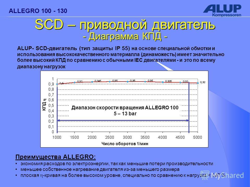 ALLEGRO 100 - 130 ALUP- SCD-двигатель (тип защиты IP 55) на основе специальной обмотки и использования высококачественного материалла (динаможесть) имеет значительно более высокий КПД по сравнению с обычными IEC двигателями - и это по всему диапазону