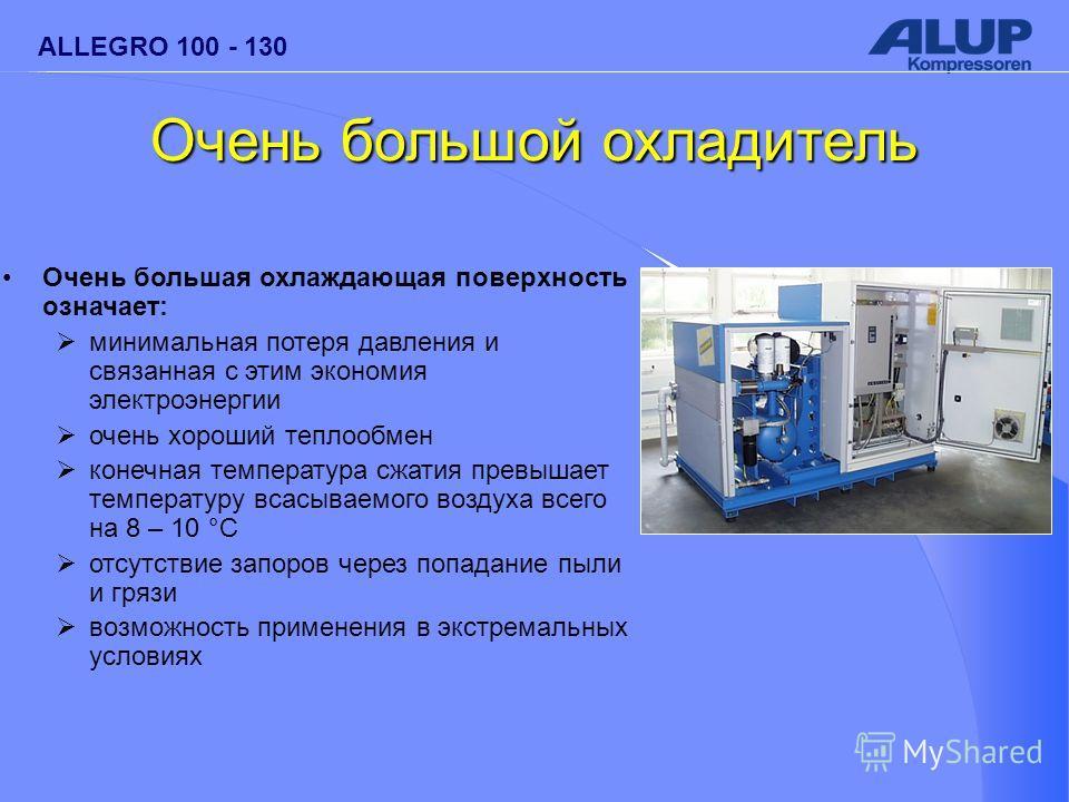 ALLEGRO 100 - 130 Очень большой охладитель Очень большая охлаждающая поверхность означает: минимальная потеря давления и связанная с этим экономия электроэнергии очень хороший теплообмен конечная температура сжатия превышает температуру всасываемого