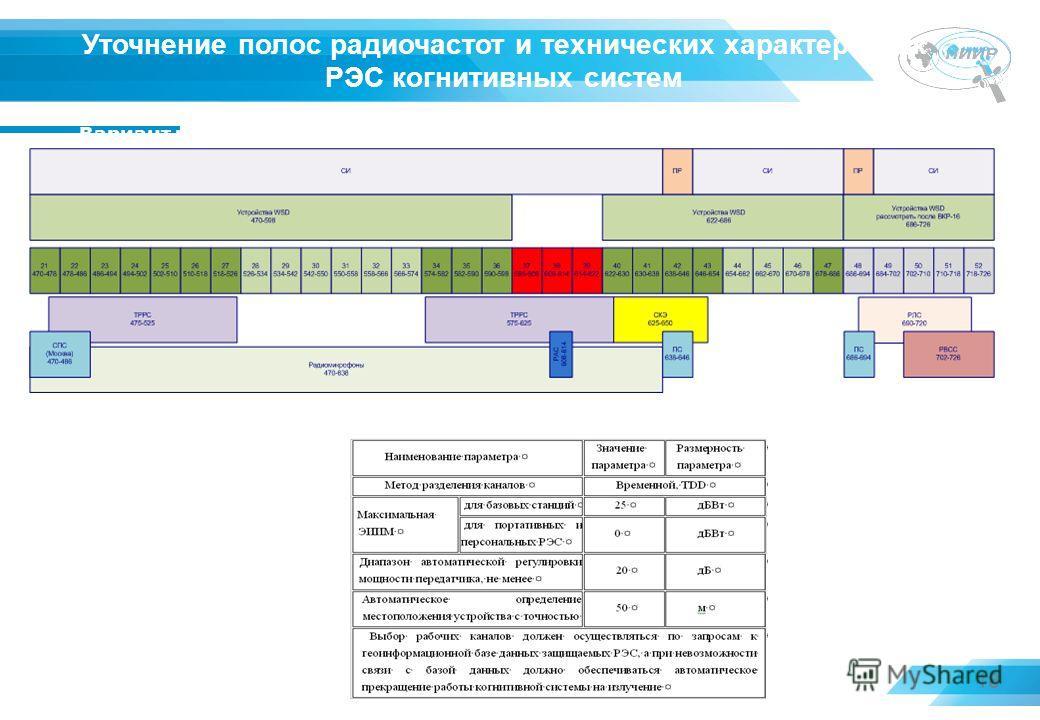 18 Уточнение полос радиочастот и технических характеристик РЭС когнитивных систем Вариант использования полос частот WSD устройствами в Российской Федерации Уточненные технические характеристики РЭС когнитивных систем