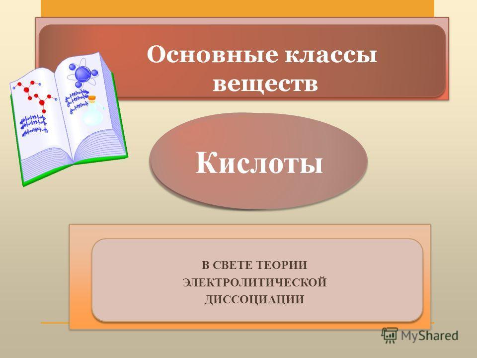 Основные классы веществ В СВЕТЕ ТЕОРИИ ЭЛЕКТРОЛИТИЧЕСКОЙ ДИССОЦИАЦИИ Кислоты