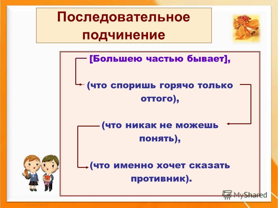 Последовательное подчинение [Большею частью бывает], (что споришь горячо только оттого), (что никак не можешь понять), (что именно хочет сказать противник).