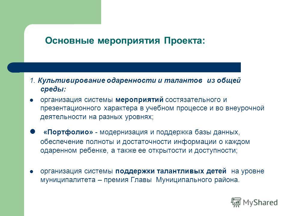 Основные мероприятия Проекта: 1. Культивирование одаренности и талантов из общей среды: организация системы мероприятий состязательного и презентационного характера в учебном процессе и во внеурочной деятельности на разных уровнях; «Портфолио» - моде