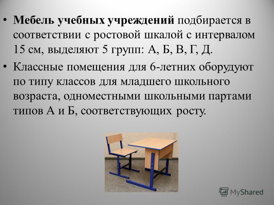 Мебель учебных учреждений подбирается в соответствии с ростовой шкалой с интервалом 15 см, выделяют 5 групп: А, Б, В, Г, Д. Классные помещения для 6-летних оборудуют по типу классов для младшего школьного возраста, одноместными школьными партами типо