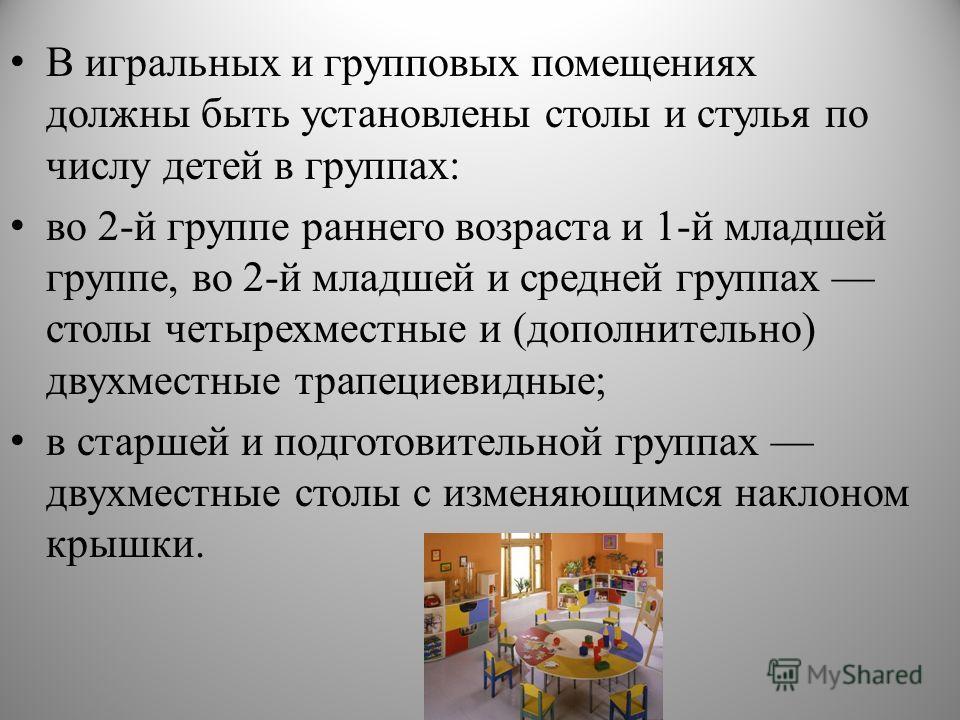 В игральных и групповых помещениях должны быть установлены столы и стулья по числу детей в группах: во 2-й группе раннего возраста и 1-й младшей группе, во 2-й младшей и средней группах столы четырехместные и (дополнительно) двухместные трапециевидны