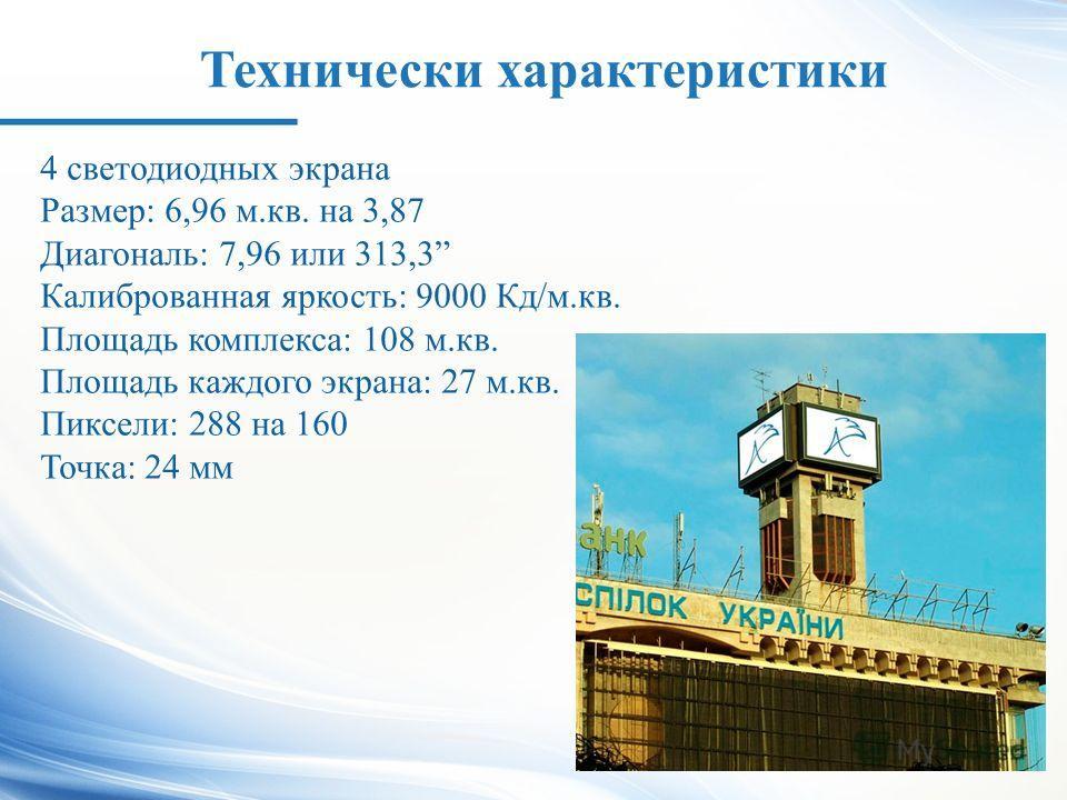 Технически характеристики 4 светодиодных экрана Размер: 6,96 м.кв. на 3,87 Диагональ: 7,96 или 313,3 Калиброванная яркость: 9000 Кд/м.кв. Площадь комплекса: 108 м.кв. Площадь каждого экрана: 27 м.кв. Пиксели: 288 на 160 Точка: 24 мм