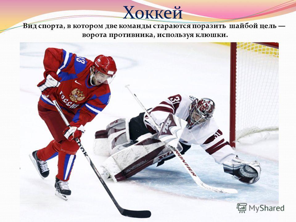 Хоккей Вид спорта, в котором две команды стараются поразить шайбой цель ворота противника, используя клюшки.