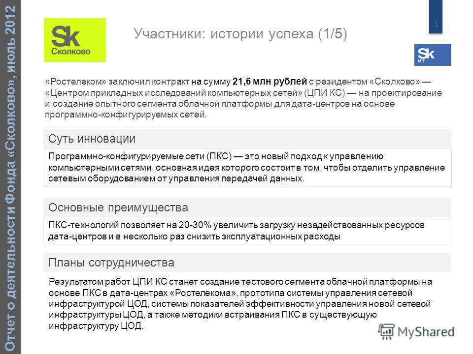 1 Отчет о деятельности Фонда «Сколково», июль 2012 «Ростелеком» заключил контракт на сумму 21,6 млн рублей с резидентом «Сколково» «Центром прикладных исследований компьютерных сетей» (ЦПИ КС) на проектирование и создание опытного сегмента облачной п