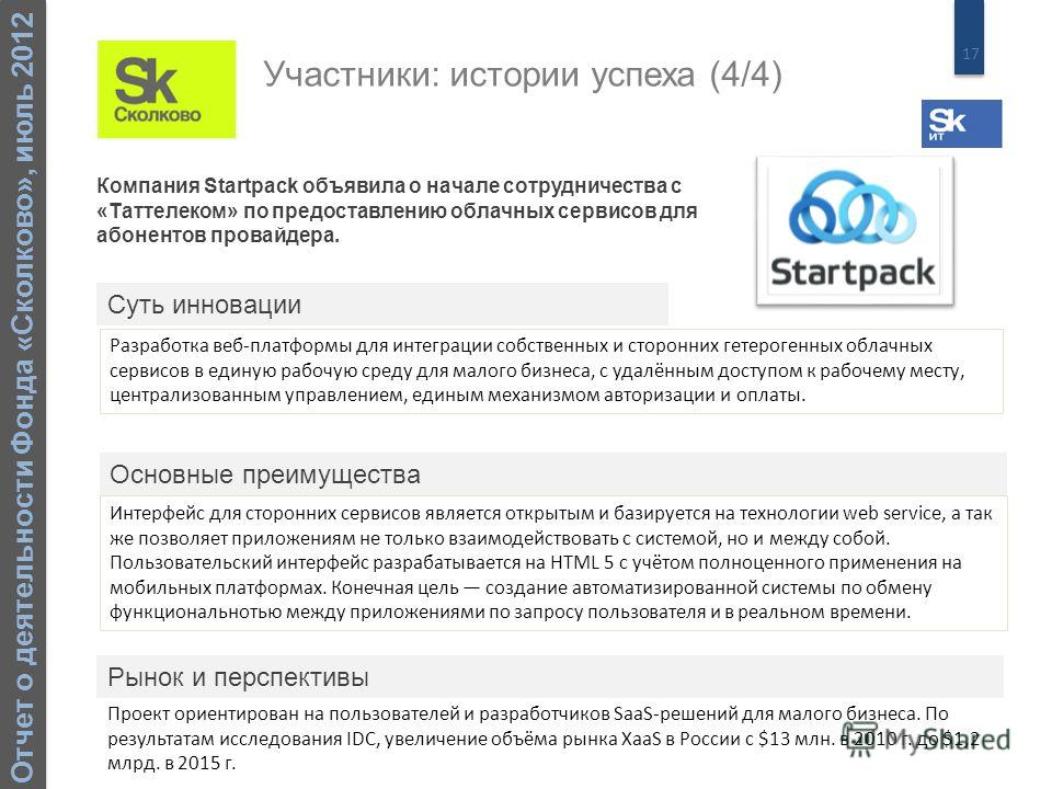 17 Отчет о деятельности Фонда «Сколково», июль 2012 Компания Startpack объявила о начале сотрудничества с «Таттелеком» по предоставлению облачных сервисов для абонентов провайдера. Разработка веб-платформы для интеграции собственных и сторонних гетер