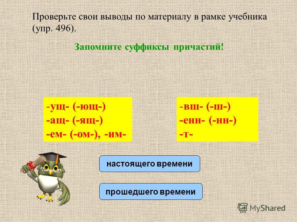 Проверьте свои выводы по материалу в рамке учебника (упр. 496). Запомните суффиксы причастий! настоящего времени прошедшего времени -ущ- (-ющ-) -ащ- (-ящ-) -ем- (-ом-), -им- -вш- (-ш-) -енн- (-нн-) -т-