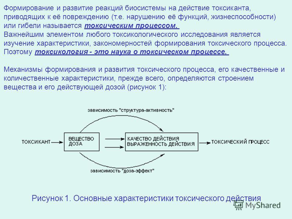 Рисунок 1. Основные характеристики токсического действия Формирование и развитие реакций биосистемы на действие токсиканта, приводящих к её повреждению (т.е. нарушению её функций, жизнеспособности) или гибели называется токсическим процессом. Важнейш