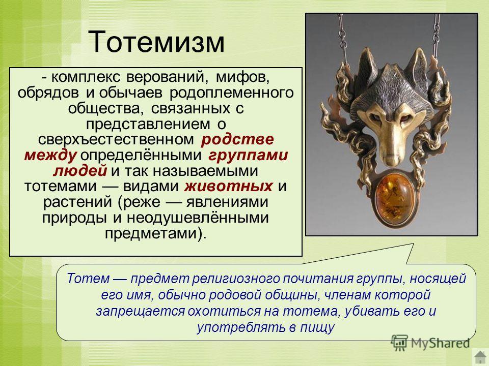 Тотемизм - комплекс верований, мифов, обрядов и обычаев родоплеменного общества, связанных с представлением о сверхъестественном родстве между определёнными группами людей и так называемыми тотемами видами животных и растений (реже явлениями природы