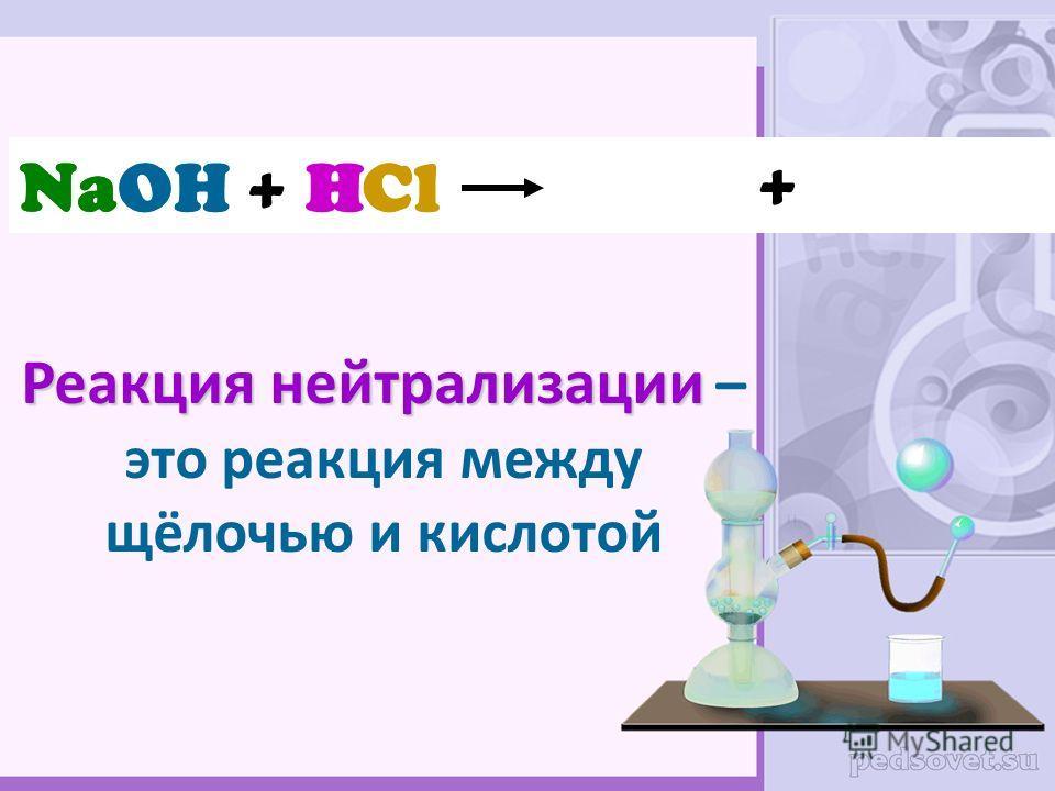 Реакция нейтрализации Реакция нейтрализации – это реакция между щёлочью и кислотой NaOH + HCl Na OHHCl +