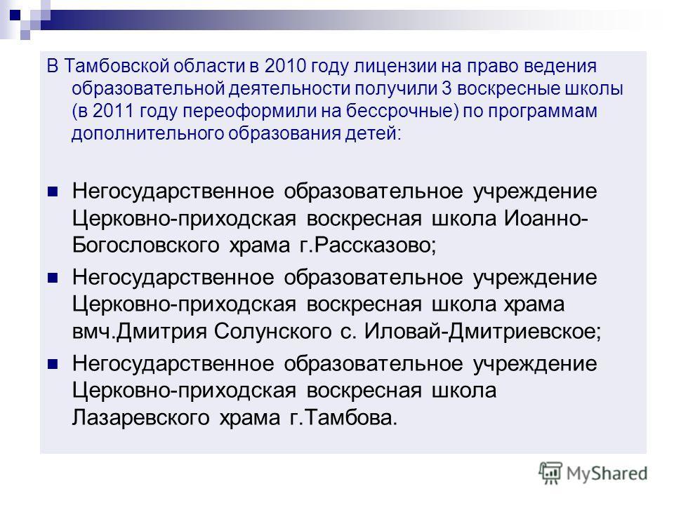 В Тамбовской области в 2010 году лицензии на право ведения образовательной деятельности получили 3 воскресные школы (в 2011 году переоформили на бессрочные) по программам дополнительного образования детей: Негосударственное образовательное учреждение