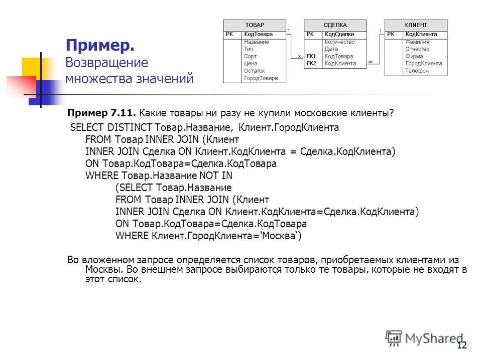 12 Пример 7.11. Какие товары ни разу не купили московские клиенты? SELECT DISTINCT Товар.Название, Клиент.ГородКлиента FROM Товар INNER JOIN (Клиент INNER JOIN Сделка ON Клиент.КодКлиента = Сделка.КодКлиента) ON Товар.КодТовара=Сделка.КодТовара WHERE