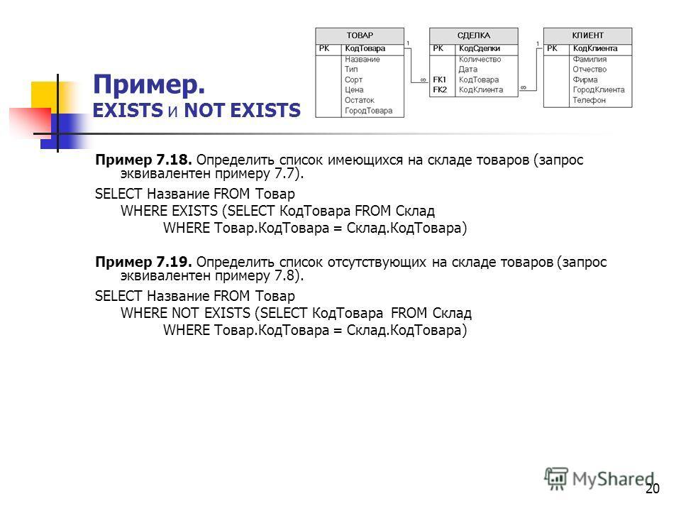 20 Пример 7.18. Определить список имеющихся на складе товаров (запрос эквивалентен примеру 7.7). SELECT Название FROM Товар WHERE EXISTS (SELECT КодТовара FROM Склад WHERE Товар.КодТовара = Склад.КодТовара) Пример 7.19. Определить список отсутствующи