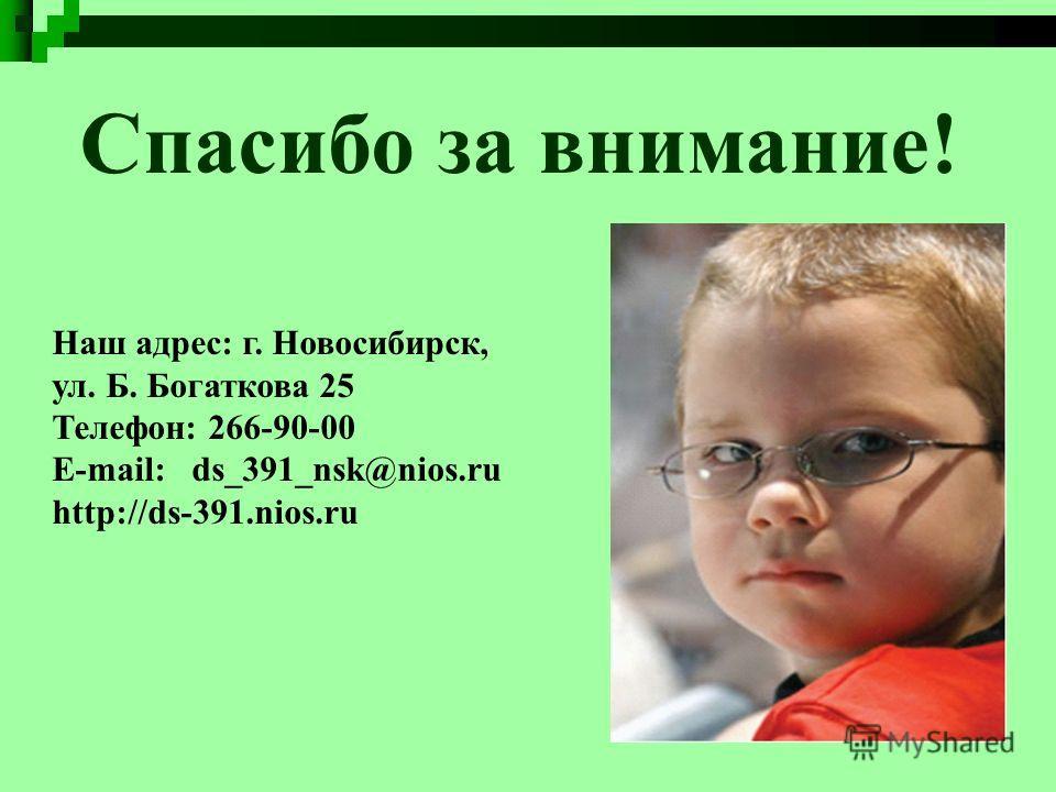 Спасибо за внимание! Наш адрес: г. Новосибирск, ул. Б. Богаткова 25 Телефон: 266-90-00 Е-mail: ds_391_nsk@nios.ru http://ds-391.nios.ru