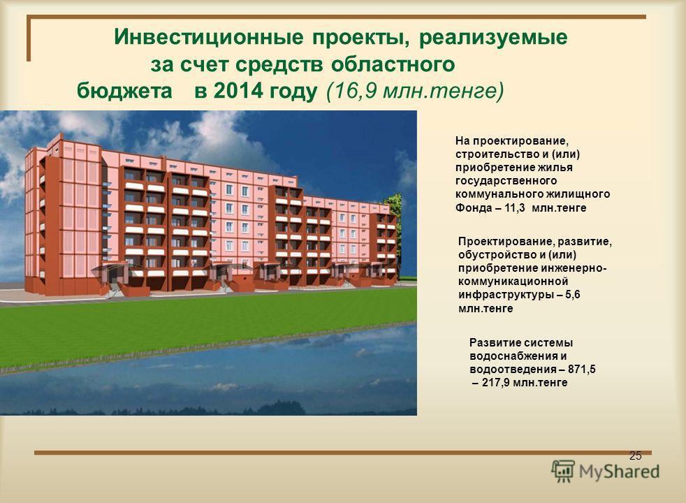 Инвестиционные проекты, реализуемые за счет средств республиканского бюджета в 2014 году (131,3 млн.тенге) На проектирование, строительство и (или) приобретение жилья государственного коммунального жилищного Фонда – 81,2 млн.тенге 25 Проектирование,