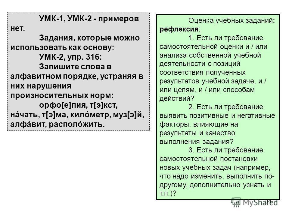 31 УМК-1, УМК-2 - примеров нет. Задания, которые можно использовать как основу: УМК-2, упр. 316: Запишите слова в алфавитном порядке, устраняя в них нарушения произносительных норм: орфо[е]пия, т[э]кст, нáчать, т[э]ма, килóметр, муз[э]й, алфáвит, рас