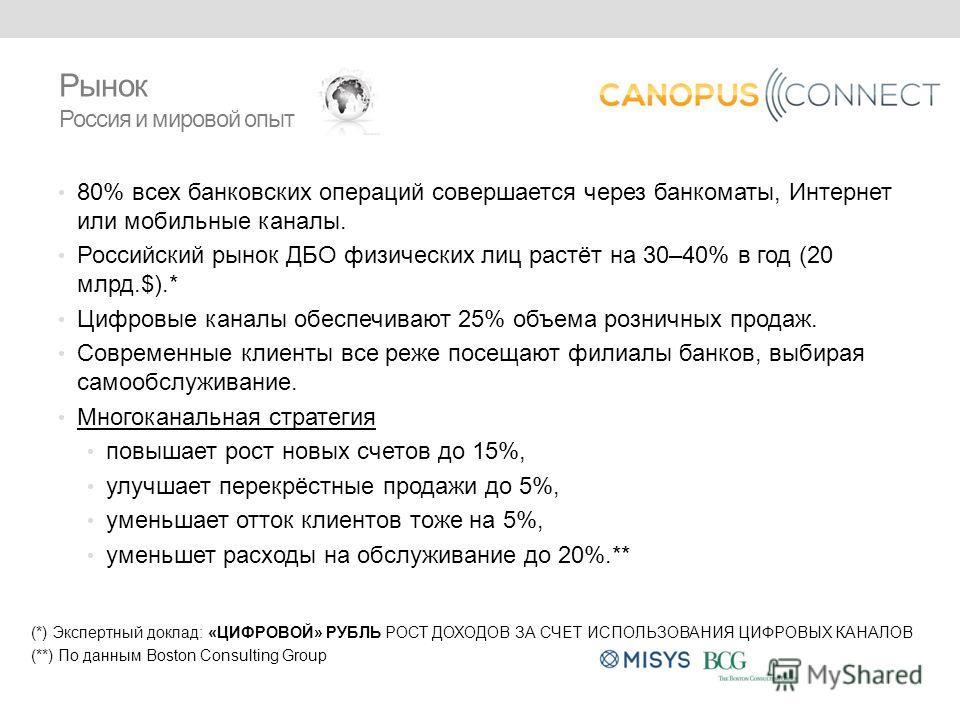 80% всех банковских операций совершается через банкоматы, Интернет или мобильные каналы. Российский рынок ДБО физических лиц растёт на 30–40% в год (20 млрд.$).* Цифровые каналы обеспечивают 25% объема розничных продаж. Современные клиенты все реже п
